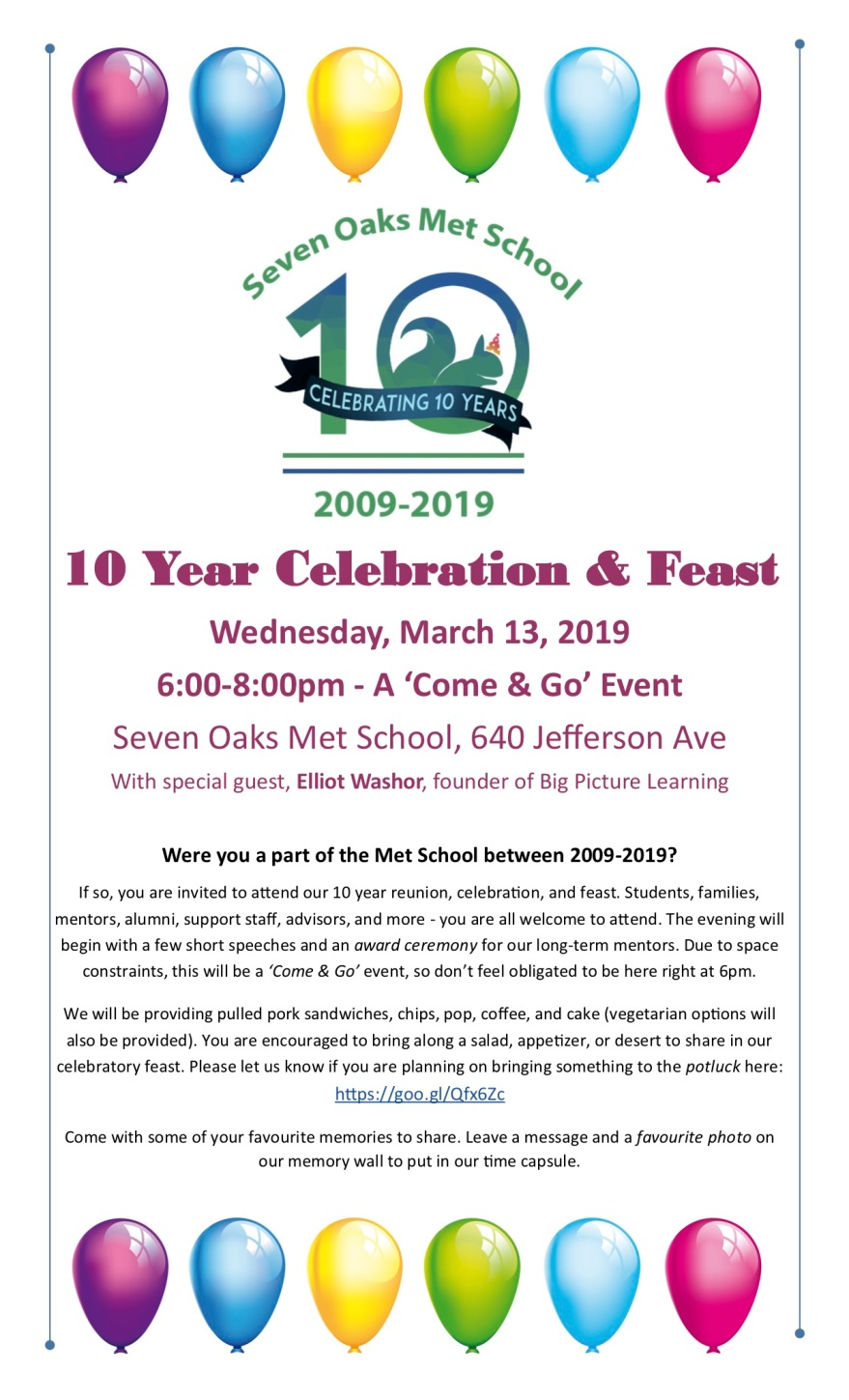 Met School 10 Year Invite